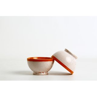Caffeine Ceramic Handmade Crackle Style Influenced Cereal Serving Bowls