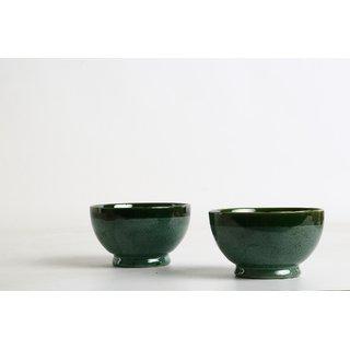 Caffeine Ceramic Handmade Metallic Style Influenced Cereal Serving Bowls