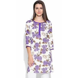 White And Purple Floral Print Jaipur Kurti