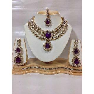 Three Chain Kundan Jewelry Set in Purple Color