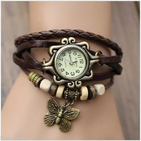 Vintage Retro Beaded Bracelet Leather Women Wrist Watch With Butterfly Pendant - 87136757
