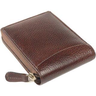 Imex Cherry Brown Round Zipper Genuine Leather Wallet