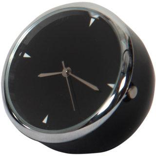 Mini Table Clock Round Black 4 Cm