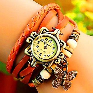 Vintage Butterfly Pendent Bracelet Orange Leather Women watch Beautiful looks