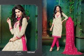 Chanderi Cotton Plain Cream  Pink Dress Material