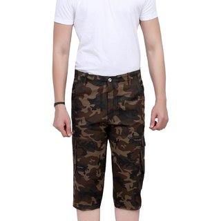Army Printed  3/4 shorts For Mens  (Coffe Color)