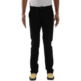 Mens Slim Fit stretchable chinos (Black)