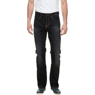 Mens Cotton Slim Stretch Fit Black Denim Jeans with Contrast Golden Stitching (