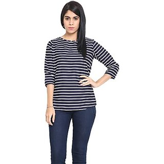 Casual 3/4 Sleeve Striped Womens Top