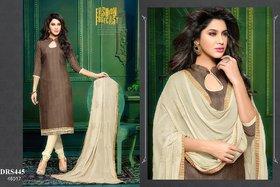 Chanderi Cotton Dark Chocolate  Cream Dress Material