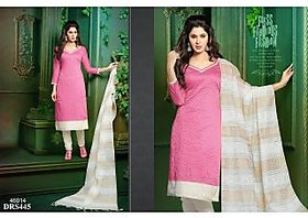 Chanderi Cotton Pink  offwhite Dress Material