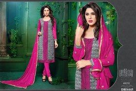 Chanderi Cotton Dark Pink Dress Material