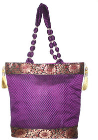 Women Shoulder Beat Purple Banarasi Silk Bag By Lolaski