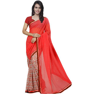 Prafful Red Georgette Printed Saree With Blouse