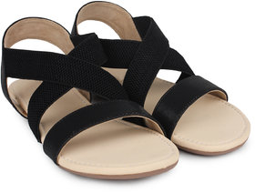 Do Bhai Women's Black Sandals