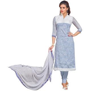 FB99 Beautiful Designer Chanderi Cotton Salwar Kameez Dress Material Light Blue