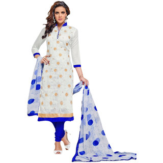 FB99 Beautiful Designer Off White Chanderi Cotton Salwar Kameez Dress Material