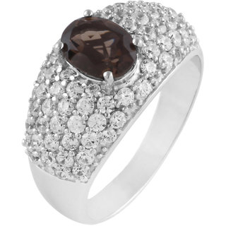 925 Sterling Silver Smokey Quartz and Cubic Zirconia Ring by Allure