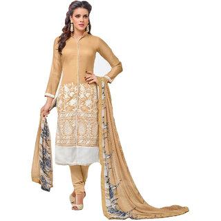 FB99 Beautiful Designer Chanderi Cotton Salwar Kameez Dress Material Beige