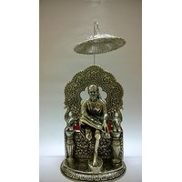 Sai Baba With Umbrella In White Metal And Antique Finish