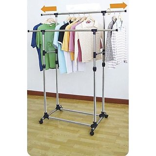 2 rods Double Pole Telescopic Cloth Drying Stand Rack