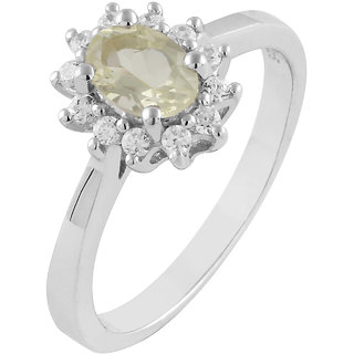 925 sterling Silver Lemon Quartz and Cubic zirconia(CZ) ring by Allure