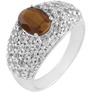 925 Sterling Silver Ring with Tiger Eye and Cubic Zirconia(CZ) by Allure