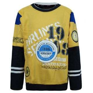 Kothari Yellow  Black Sweatshirt For Boys