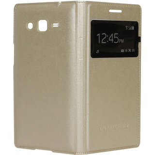 Snaptic Hi Grade Golden S View Flip Cover for Samsung Galaxy Grand 2 G7102