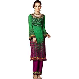 Ethics fashion Voguish Green  Pink Coloured Printed Salwar Kameez