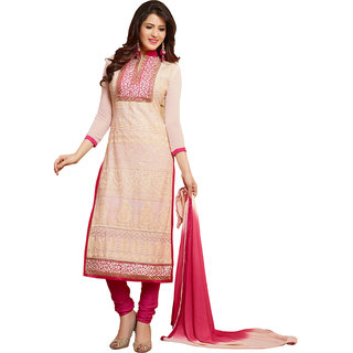 Ethics fashion Voguish Cream  Pink Coloured Embroidered  Salwar Kameez