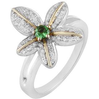 Allure  925 Sterling Silver Designer Chrome Diposide Studded Ring