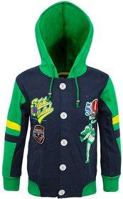 Kothari Blue And Green Fleece Printed Sweatshirt With Hood