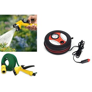 Combo Of Multifunctional Water Spray Gun+Car Tire 260PSI Mini Air Compressor.