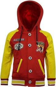 Kothari Red And Yellow Fleece Printed Sweatshirt With Hood