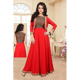 BanoRani Red Faux Georgette Work Anarkali Full Sleeves Semi Stitched Gown Jacket