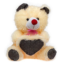 Glitters Beige Teddy with Black Print Heart