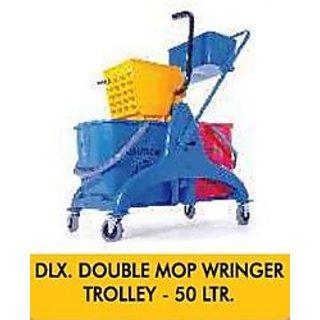 DLX. DOUBLE MOP WRINGER TROLLEY - 50 LTR.