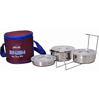 Ess Kay Hot Line 3 Containers Lunch Box(500 ml)