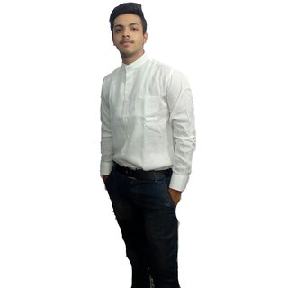 Faminton  White Stand Collor  Pure Lenin Shirt