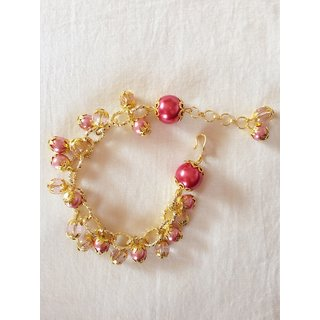 MEORA Golden fancy chain  crystal and pearly pink bracelet