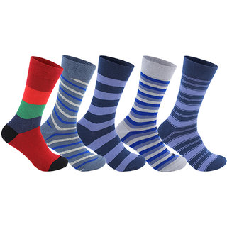 Supersox Mens Regular Length Pack of 5 Stripes  Combed Cotton Socks