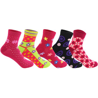 Supersox Womens  Ankle Length Pack of 5 Design Combed Cotton Socks