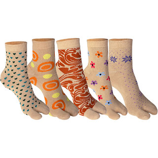 Supersox Womens Ankle Length Pack of 5 Thumb Design Combed Cotton Socks