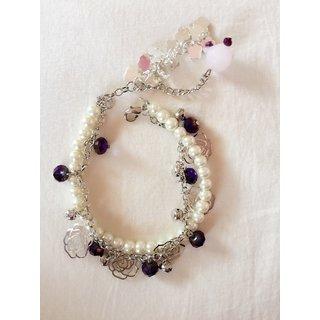 MEORA White Pearl Violet Beaded Bracelet