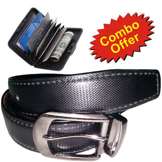 Combo of VIBA Mens Formal Leather Belt + UNIMARK ATM Card Wallet