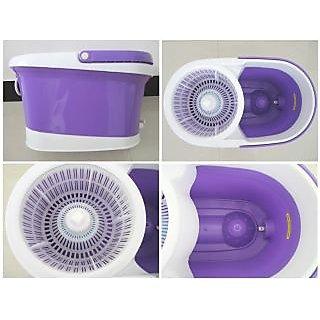 Kakadiy'S Purple,White Plastic Twistable Iron Mop