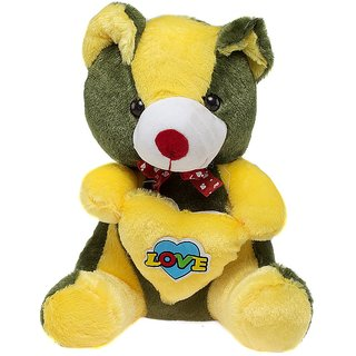 Glitters Green Teddy With Yellow Love Heart