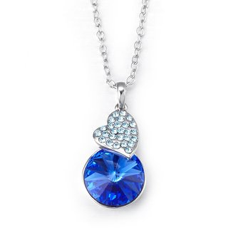 NEVI Swarovski Elements Blue Designer Pendant Valentine Jewellery For Women