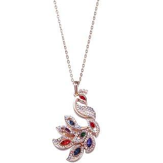NEVI Swarovski Elements Rose Gold Peacock Pendant Fashion Jewellery For Women